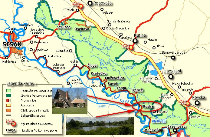 Karta Lonjskog polja
